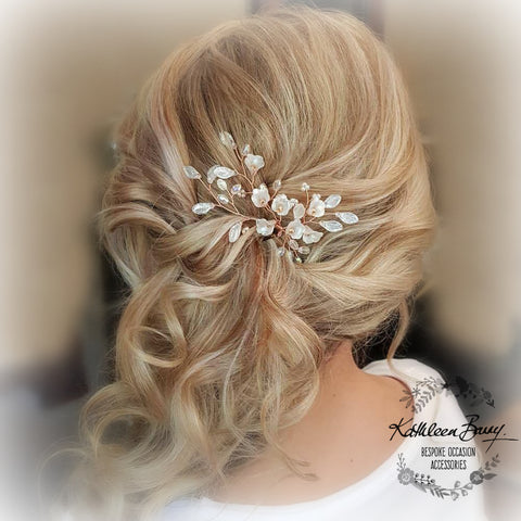 Anli Bridal hair pin rose gold - frosted flowers and pearls - finish options available