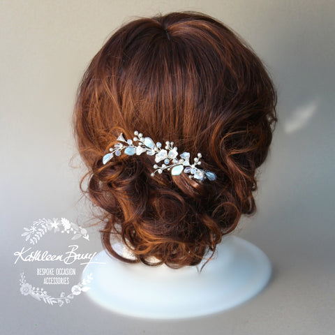Annabelle Silver, Pale Pink, Pearl & Crystal Bridal Hair Piece