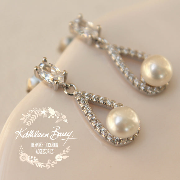 Annabelle Cubic Zirconia Parve set and Fresh water pearl stud earrings - Limited stock available