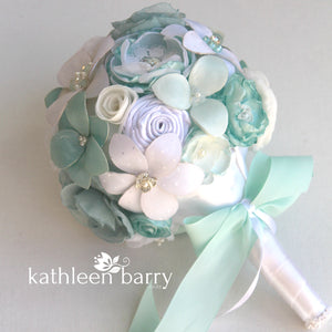 Heirloom Bridal Bouquet, Aqua mint, white & off white - Sculpted fabric flowers