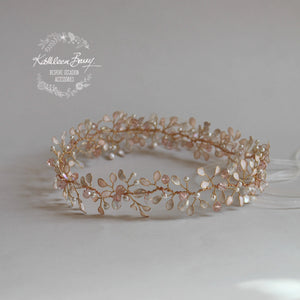 Ashley Rose Gold Blush Crown Bridal Wreath - Available rose gold, gold or silver plated