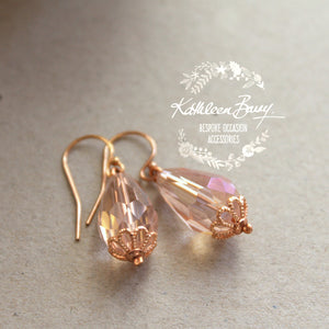 Ashley Crystal drop Earrings - Rose Gold, Silver or Gold finishes available
