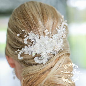 Gabriella Bridal Lace Rhinestone hair piece, 3D lace flower in 'ivory nude blush' with silver tones
