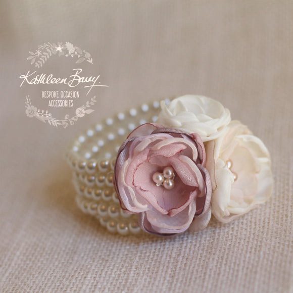 Berdean cuff bracelet - flower corsage on pearl bracelet - Colors to order