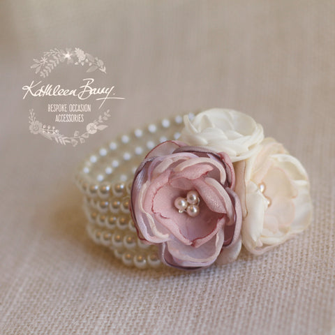 Berdean cuff bracelet - flower corsage on pearl elasticated bracelet base - Colors to order