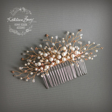 Beth Rose Gold Hair Comb With Dainty Crystal Pearl