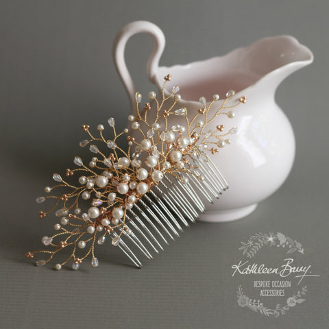 Beth Rose Gold Hair Comb with dainty, crystal, pearl detailing