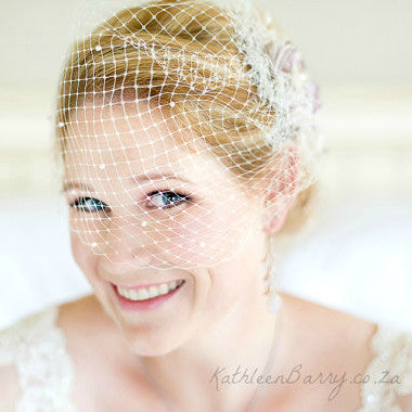Blush pink birdcage veil wedding - French - Russian netting Bridal half head veil pink - blush pink - ivory - white - pillbox veil