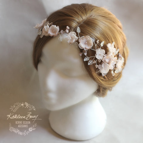 Lilly-Belle Blush pink, handmade blossom hair wreath - bride flower crown / vine