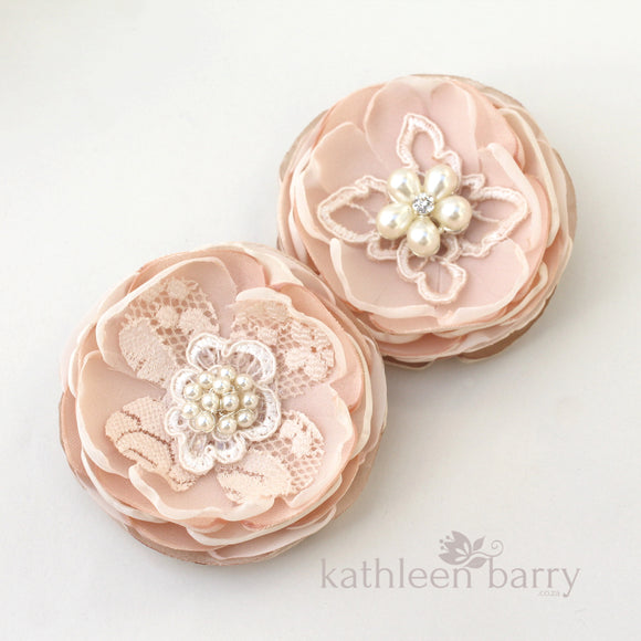 Blush pink hair flower or brooch bridal wedding accessories - Bride, flower girl, bridesmaid, mother of the bride or groom gifts