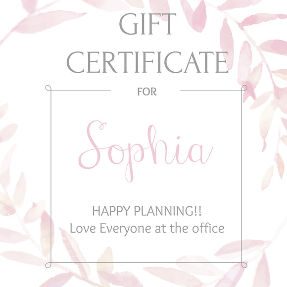 Gift certificate personalized - Bridal shower gift idea - COLORS AVAILABLE