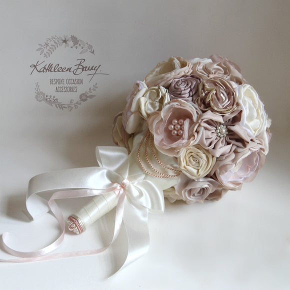 Heirloom Bridal Bouquet - everlasting bouquet - handcrafted fabric flowers with crystal, pearl and rhinestone pearl brooch detailing - Pearly pinks, ivory and blush