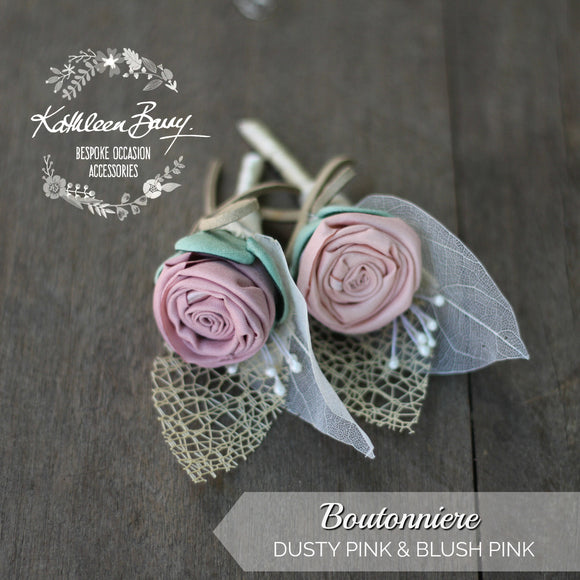 Boutonniere or corsage - lapel pin groom ombre pink green- color options available - everlasting
