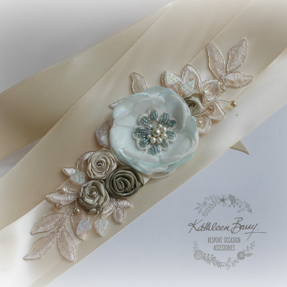 Braelin Bridal sash - wedding dress belt - floral lace dress sash - champagne green mint turquoise - custom colors