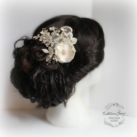 Zintle Lace bridal hairpiece - silver corded lace with satin stitch detailing - Available in blush, ivory and white
