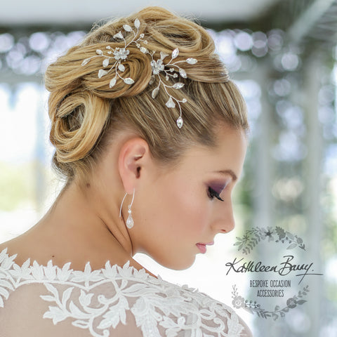Bridal hair pins (set of two) - Cubic Zirconia, rhinestone & pearls - Available in Rose gold, silver & gold