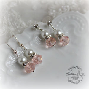 Bridesmaid gift Earrings with crystal and Rhinestone detail