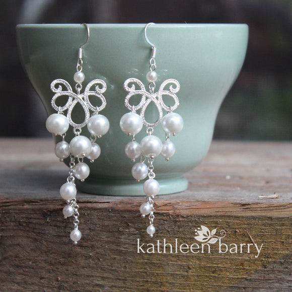 Brooke Pearl chandelier earrings -  white or ivory pearls, silver finish only.