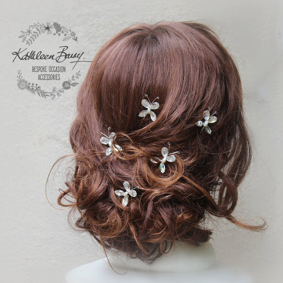 Butterfly hair pins - Rhinestone and pearl sold per piece