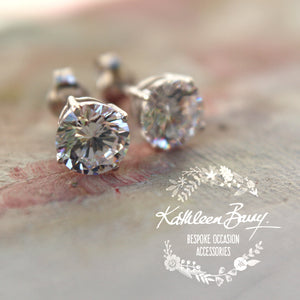 Cubic Zirconia studs - Sterling silver - Sizes range from 9mm to 4mm stones