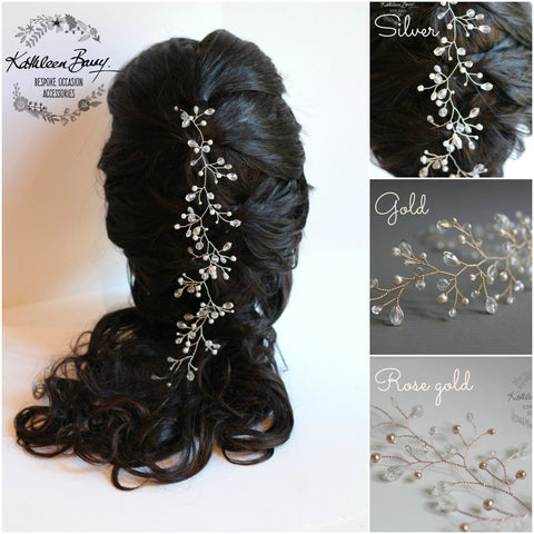 Carly Hair vine - Bridal wedding hair accessory - multiple styling options - crystal and pearl - available in silver, gold, rose gold plated finish
