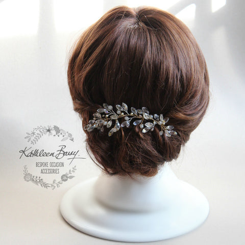 Celeste Bridal Leaf Art deco style Hair Piece Crystal Rhinestone Pearl Gold & Silver Hair Pin Wedding Accessories