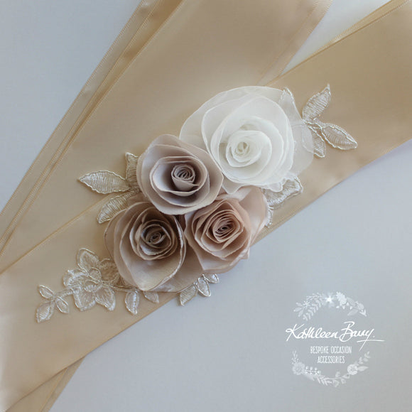 Lucille Wedding dress sash belt - floral roses with metallic corded lace - Champagne, Blush pink, taupe, nude