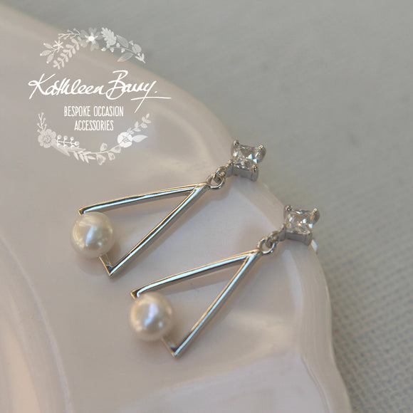 Charlotte Cubic Zirconia and Fresh water pearl stud earrings - Limited stock available