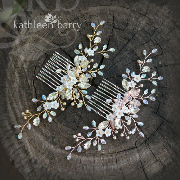 Charlotte Floral Crystal, Pearl & Rhinestone Comb - Gold, silver or rose gold