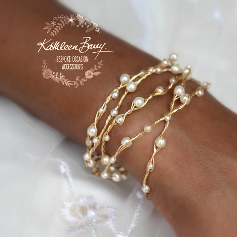 Cherize - Wrap cuff bracelet Pearls & plated wirework in gold, silver or Rose gold.