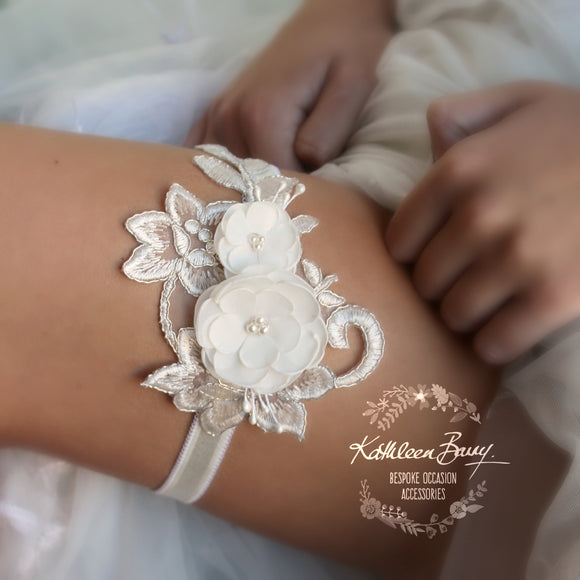 Chloe Floral lace garter -  Color options available