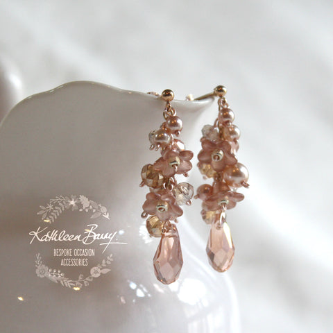 Christine Rose Gold Blush Pink Crystal Cluster Bridal Earrings - Silver or Gold options