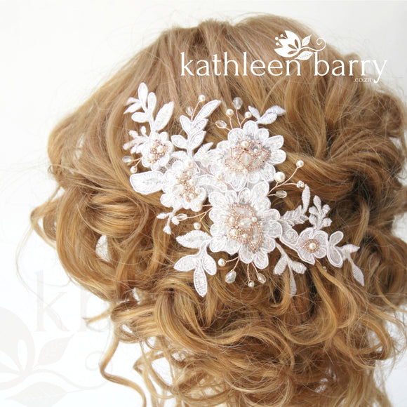 Lace bridal hair clip wedding clip rose gold