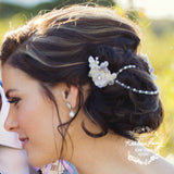Cindy - Two part crystal and pearl lace hairpiece with linked detail