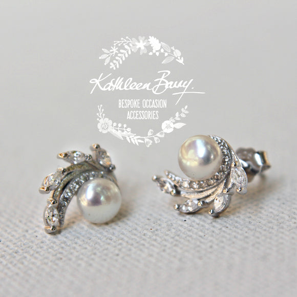 Colette Cubic Zirconia Parve set and Fresh water pearl stud earrings - Limited stock available