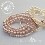Colleen 4 strand pearl cuff bracelet (7 PEARL COLORS AVAILABLE) Sold individually - Rose gold