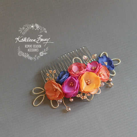 Connie Floral Hair Comb in Multi Colored Shades, Handmade fabric flowers rose gold elements Wedding hair accessory rainbow