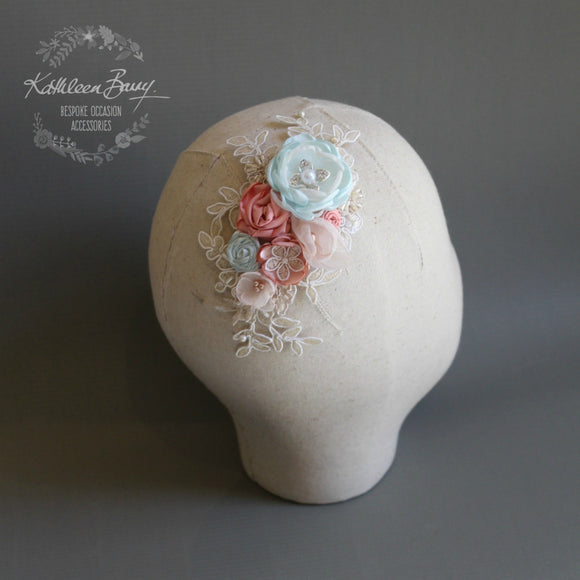 Mandy Bridal Hairpiece - floral veil comb - wedding hair accessory - Turquoise, coral, blush - colors to order