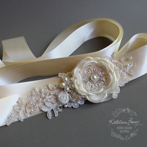 Emma Wedding dress sash belt - floral with lace - champagne ivory cream