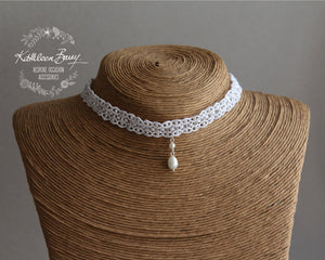 Kelly Lace Choker with focal Pearl Drop - Color Options Available