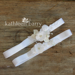 Danielle heirloom garter set (or individually) - Silver white off-white  or color options available