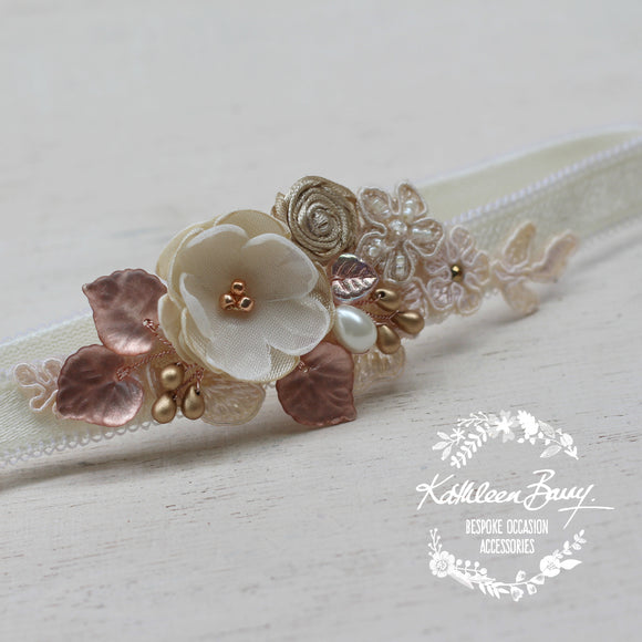 Danielle heirloom garter - Rose gold, champagne color options - sold individually or set
