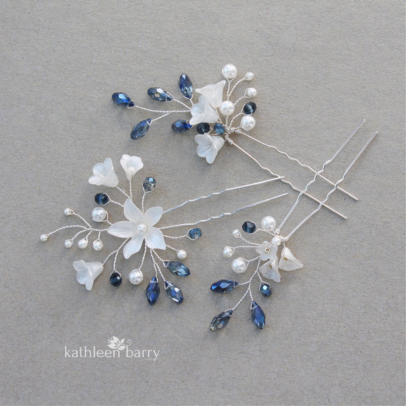 Delft blue Monica hair pins mix and match - 3 styles - silver (sold individually) something blue