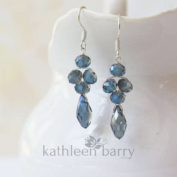 Navy blue crystal drop earrings, Silver or gold finish STYLE: Grace