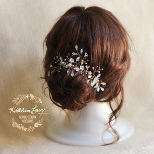 Eden Gold & Pearly Hair Vine Wedding Hair Accessories - Available in Silver, gold & Rose gold