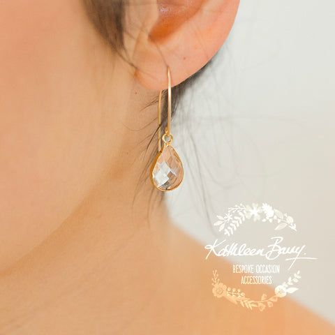 Elaine gold crystal drop earrings - Silver available