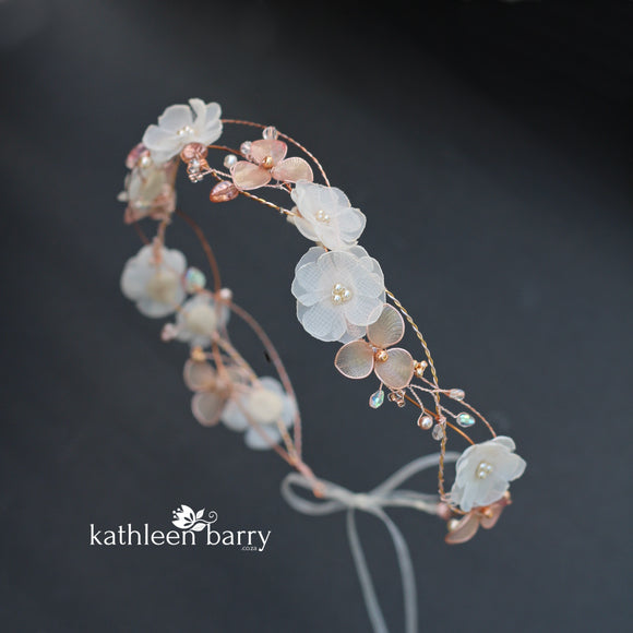 Elaine rose gold blush pink headband - wreath floral crown circlet