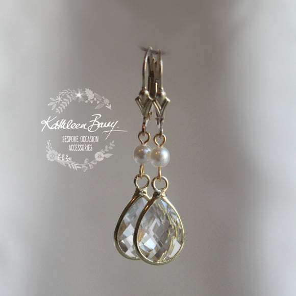 Vanessa Crystal & Pearl Drop Earrings - Gold or Silver finish Options Available.