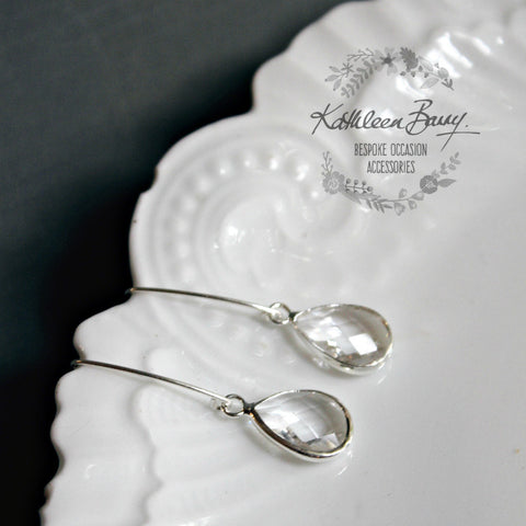 Elaine silver crystal drop earrings - Gold available