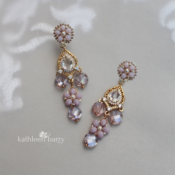 Elise chandelier earrings - assorted colors available - gold finish only Limited stock